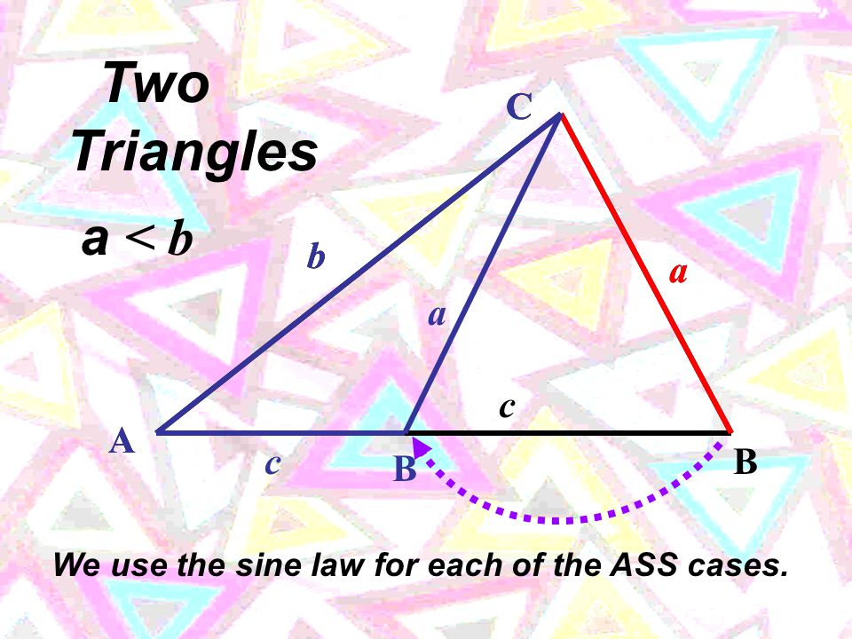 b The ASS case (the given angle is not contained between the given two sides): C A B a c b and sides a a nd b , a find angle  B.