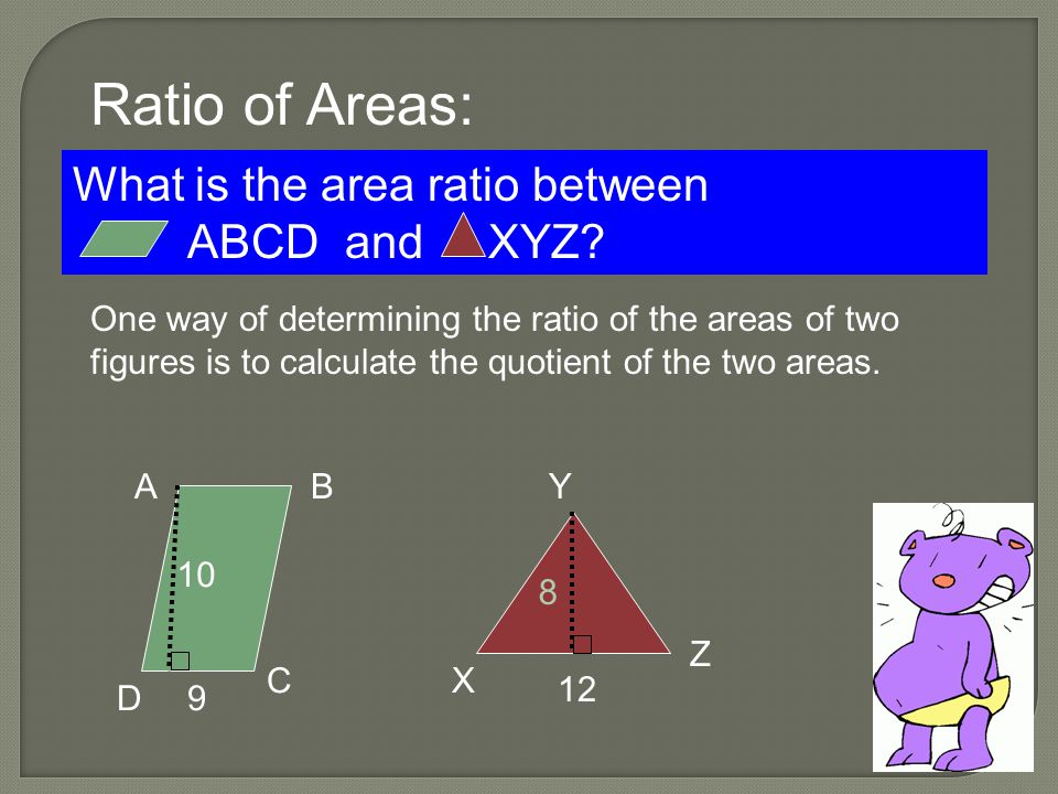 Ratio of Areas: What is the area ratio between ABCD and XYZ.