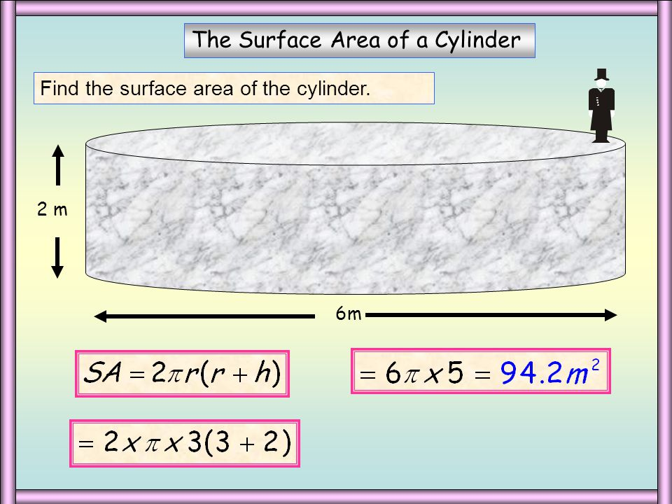 6 cm The Surface Area of a Cylinder Calculate the surface area of the following cylinders.