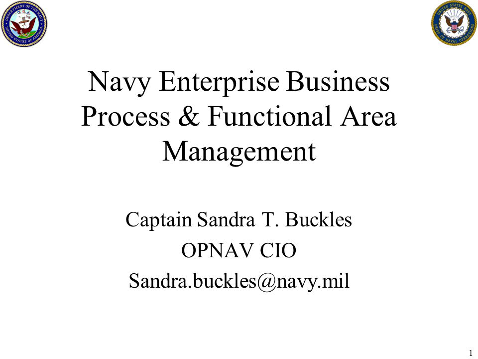 1 Navy Enterprise Business Process & Functional Area Management Captain Sandra T.