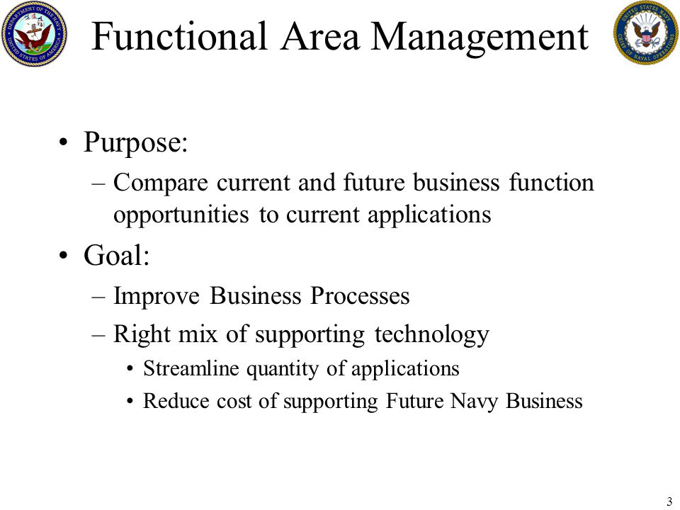 4 FAM - Background Navy divided up functional areas into 24 groups –Large FAMs – Cross other Functional Areas Acquisition, Administration, Logistics, Science & Tech, Enterprise Services, Education & Training –Small FAMs – All the rest C3, Civpers, Finance, IW, Intel & Cryp, Legal, Manpower & Pers, Medical, Meteorology, Mod & Sim, Nuclear Propulsion, Reserve, Precise Time, Readiness, Religious Ministries, Resources/Requirements & Assessments, Test & Eval, and Weapons Planning & Control Only reviewed NMCI Applications –Future consideration of IT-21, BLII, others