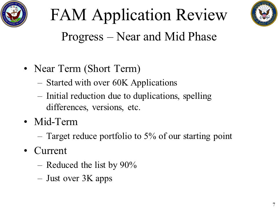 8 FAM Application Review Future Steps In-depth review of Business Functions to Application Development of Business Cases Process Improvements Applications mapped to Taxonomy (Biz Process) –Compare taxonomy to applications: Ensures all functions/processes are supported by an application Don't create a disconnect between functions –Does the Taxonomy truly define our Business Processes Looking for Business Best Practices/Models