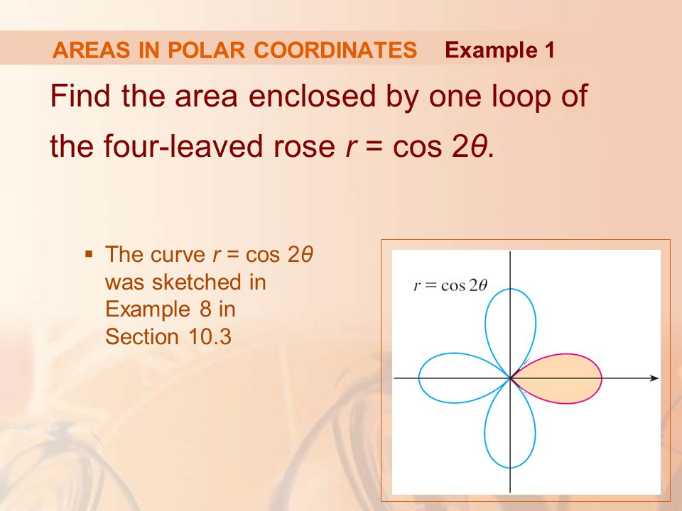 AREAS IN POLAR COORDINATES Find the area enclosed by one loop of the four-leaved rose r = cos 2θ.  The curve r = cos 2θ was sketched in Example 8 in