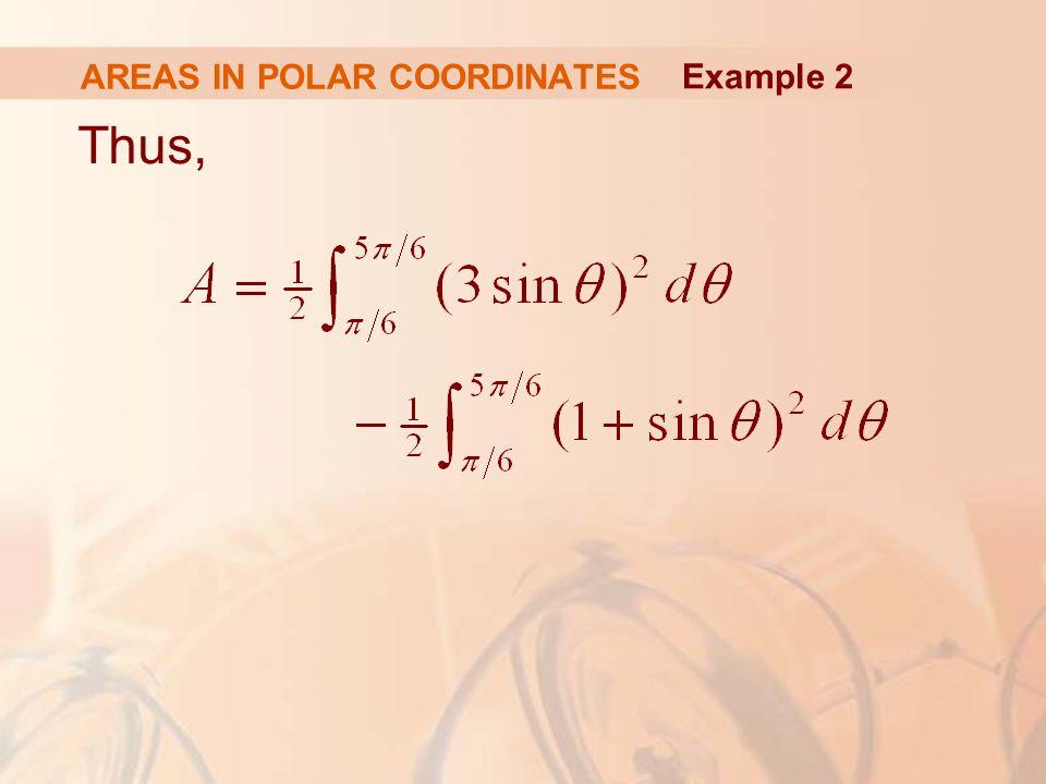 AREAS IN POLAR COORDINATES Thus, Example 2