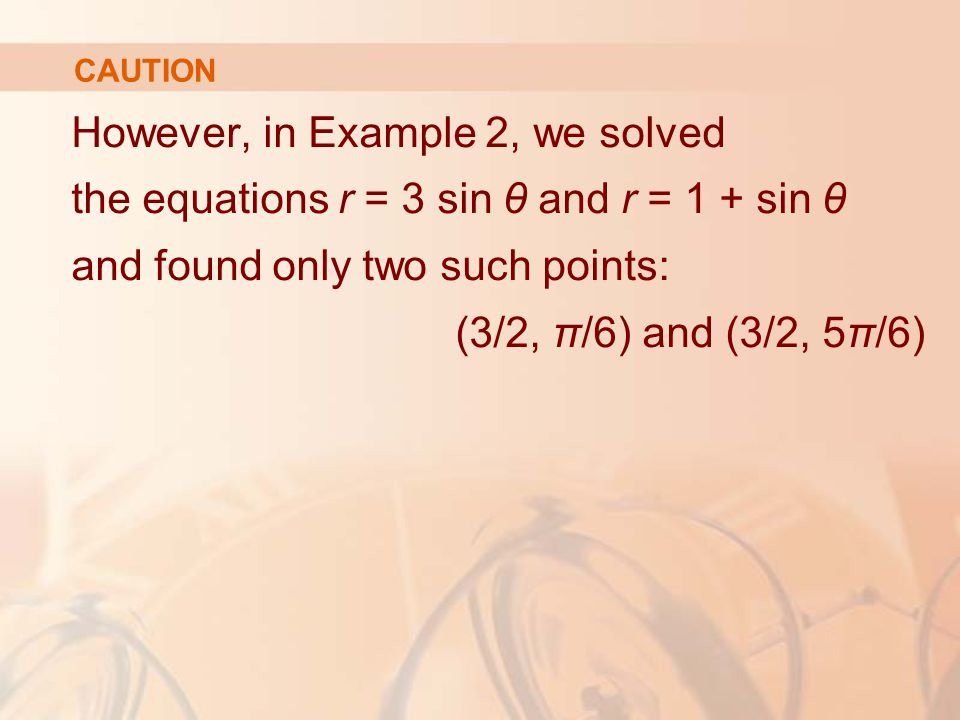 CAUTION However, in Example 2, we solved the equations r = 3 sin θ and r = 1 + sin θ and found only two such points: (3/2, π/6) and (3/2, 5π/6)