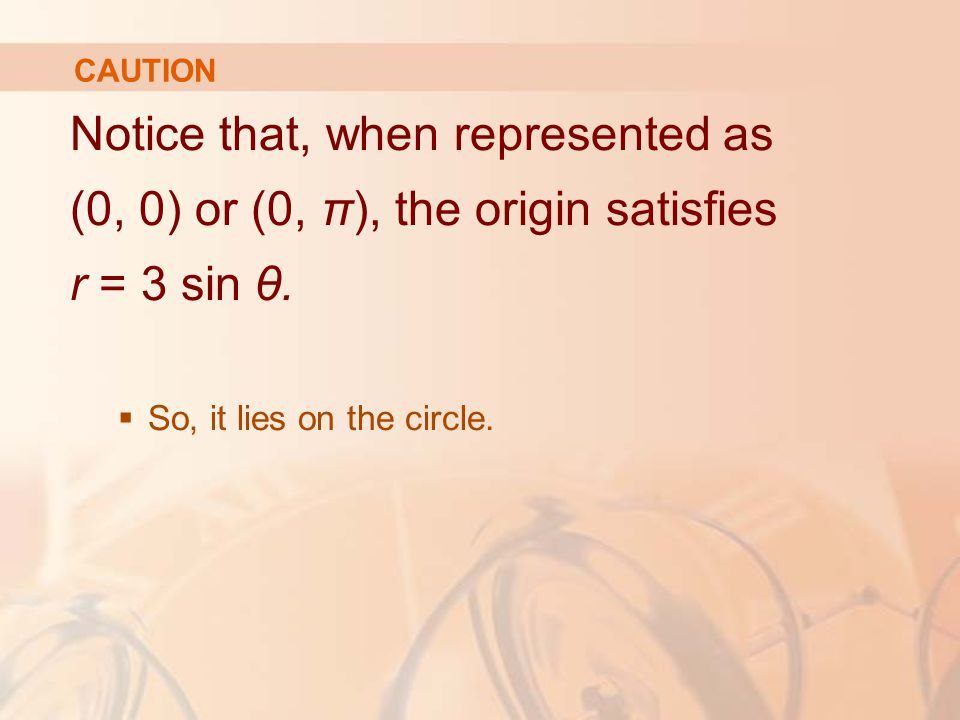 CAUTION Notice that, when represented as (0, 0) or (0, π), the origin satisfies r = 3 sin θ.  So, it lies on the circle.