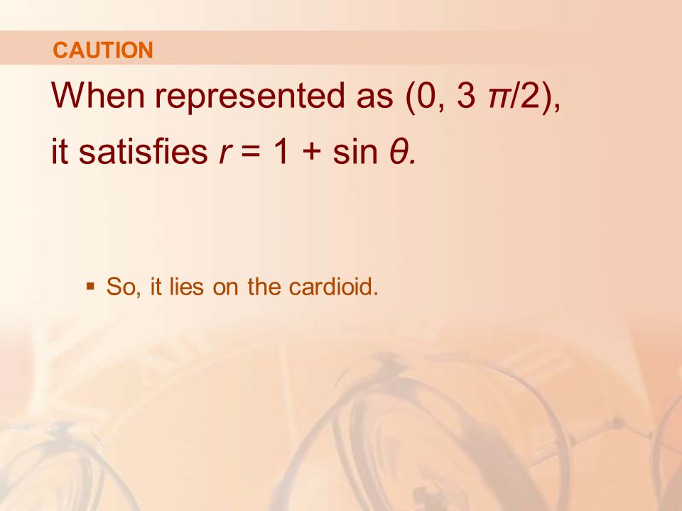 CAUTION When represented as (0, 3 π/2), it satisfies r = 1 + sin θ.  So, it lies on the cardioid.