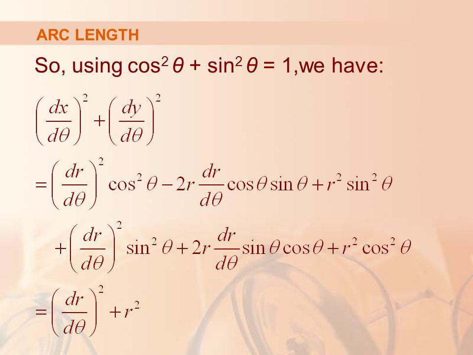 ARC LENGTH So, using cos 2 θ + sin 2 θ = 1,we have: