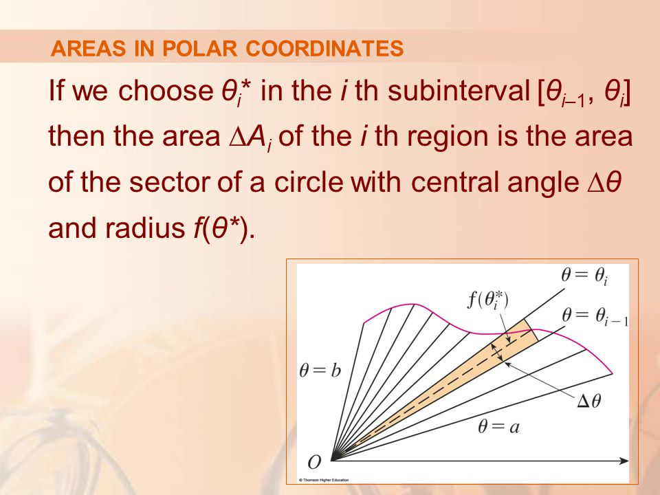 AREAS IN POLAR COORDINATES If we choose θ i * in the i th subinterval [θ i–1, θ i ] then the area ∆A i of the i th region is the area of the sector of