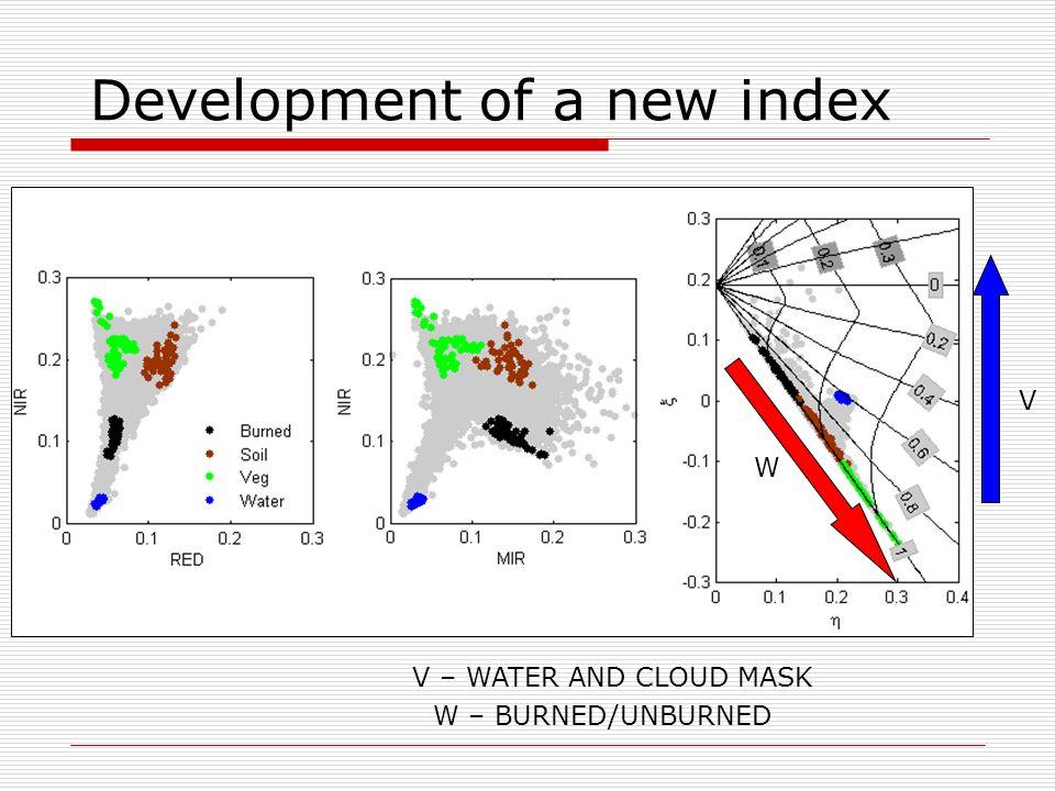 W V V – WATER AND CLOUD MASK W – BURNED/UNBURNED Development of a new index