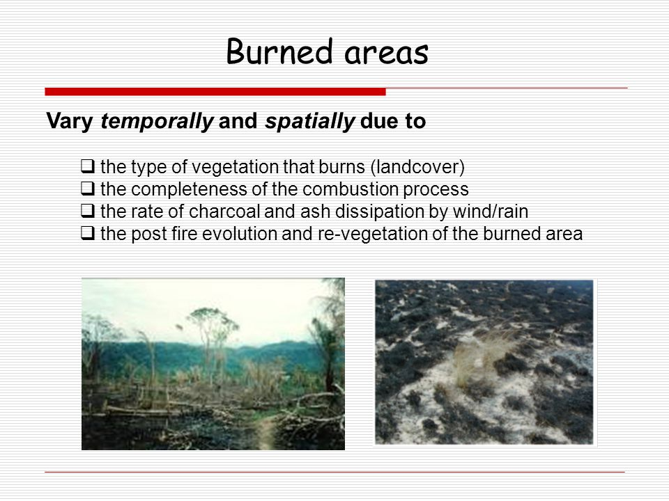 Vary temporally and spatially due to  the type of vegetation that burns (landcover)  the completeness of the combustion process  the rate of charco