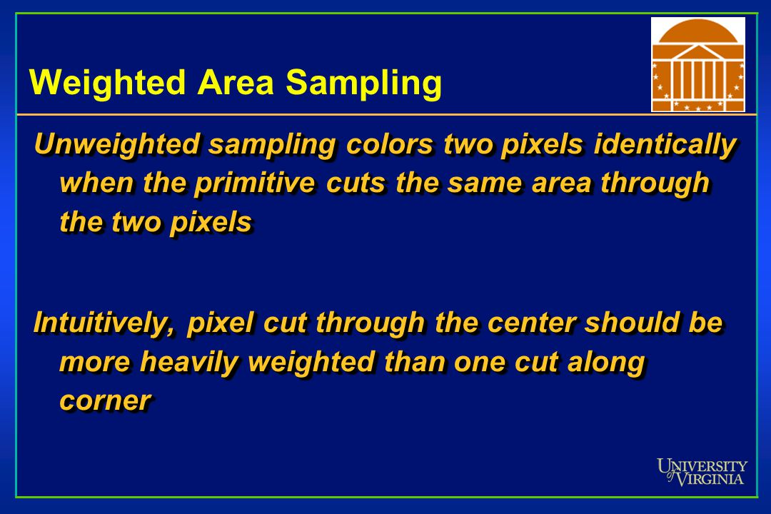 Weighted Area Sampling Unweighted sampling colors two pixels identically when the primitive cuts the same area through the two pixels Intuitively, pixel cut through the center should be more heavily weighted than one cut along corner Unweighted sampling colors two pixels identically when the primitive cuts the same area through the two pixels Intuitively, pixel cut through the center should be more heavily weighted than one cut along corner