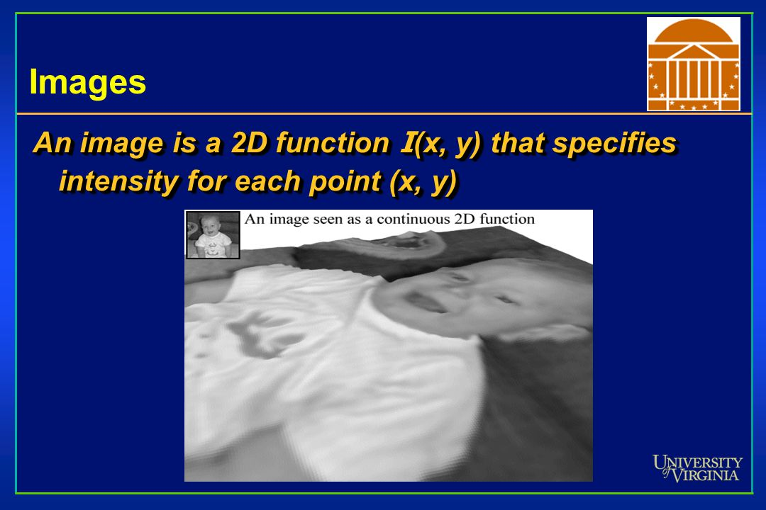 Images An image is a 2D function I (x, y) that specifies intensity for each point (x, y)