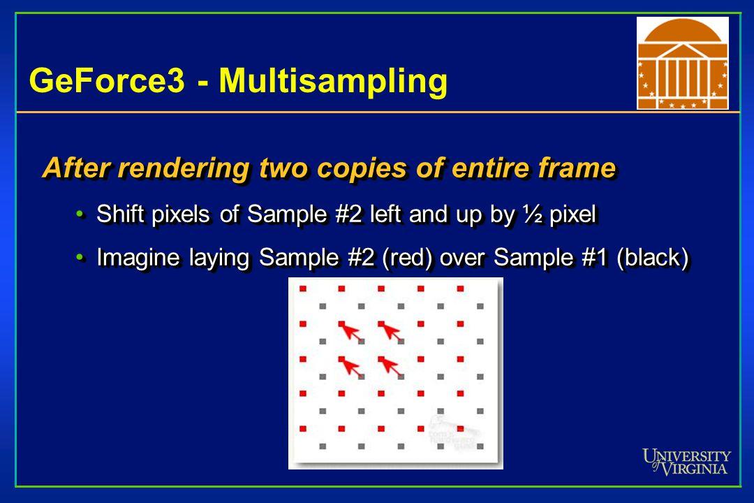 GeForce3 - Multisampling After rendering two copies of entire frame Shift pixels of Sample #2 left and up by ½ pixelShift pixels of Sample #2 left and up by ½ pixel Imagine laying Sample #2 (red) over Sample #1 (black)Imagine laying Sample #2 (red) over Sample #1 (black) After rendering two copies of entire frame Shift pixels of Sample #2 left and up by ½ pixelShift pixels of Sample #2 left and up by ½ pixel Imagine laying Sample #2 (red) over Sample #1 (black)Imagine laying Sample #2 (red) over Sample #1 (black)