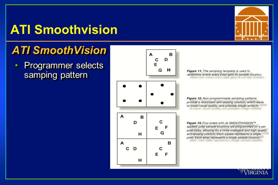 ATI Smoothvision ATI SmoothVision Programmer selects samping patternProgrammer selects samping pattern ATI SmoothVision Programmer selects samping patternProgrammer selects samping pattern