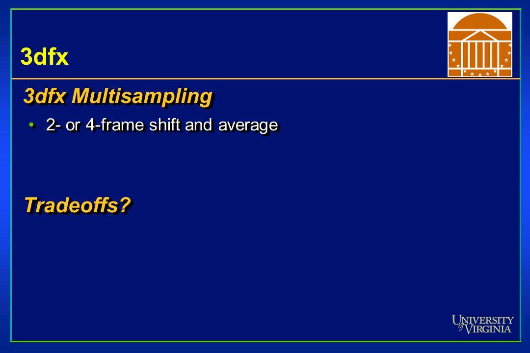 3dfx 3dfx Multisampling 2- or 4-frame shift and average2- or 4-frame shift and averageTradeoffs.