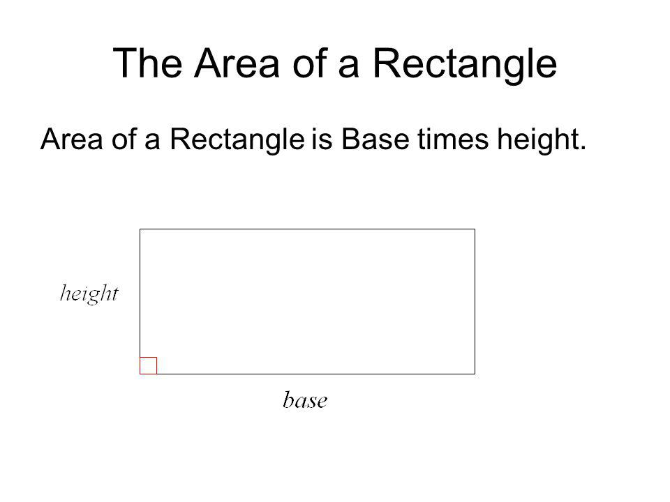 The Area of a Rectangle Area of a Rectangle is Base times height.