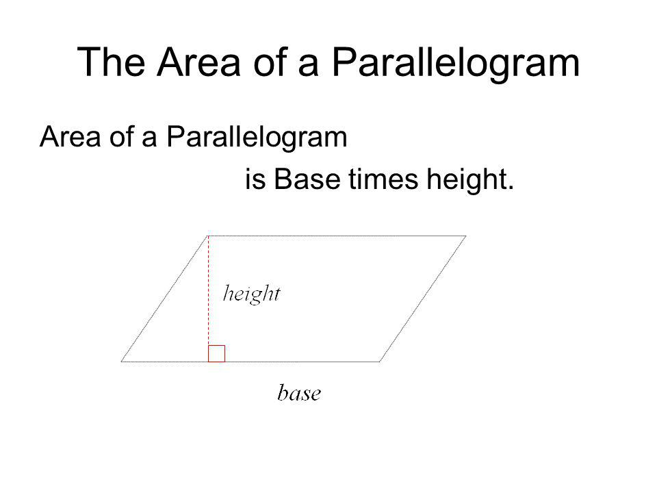 Area of a Triangle Area is one half base times height, even if the height is outside of the triangle