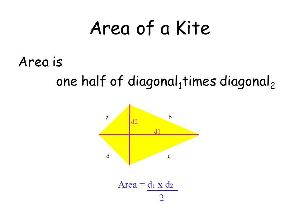 Area of a Kite Area is one half of diagonal 1 times diagonal 2