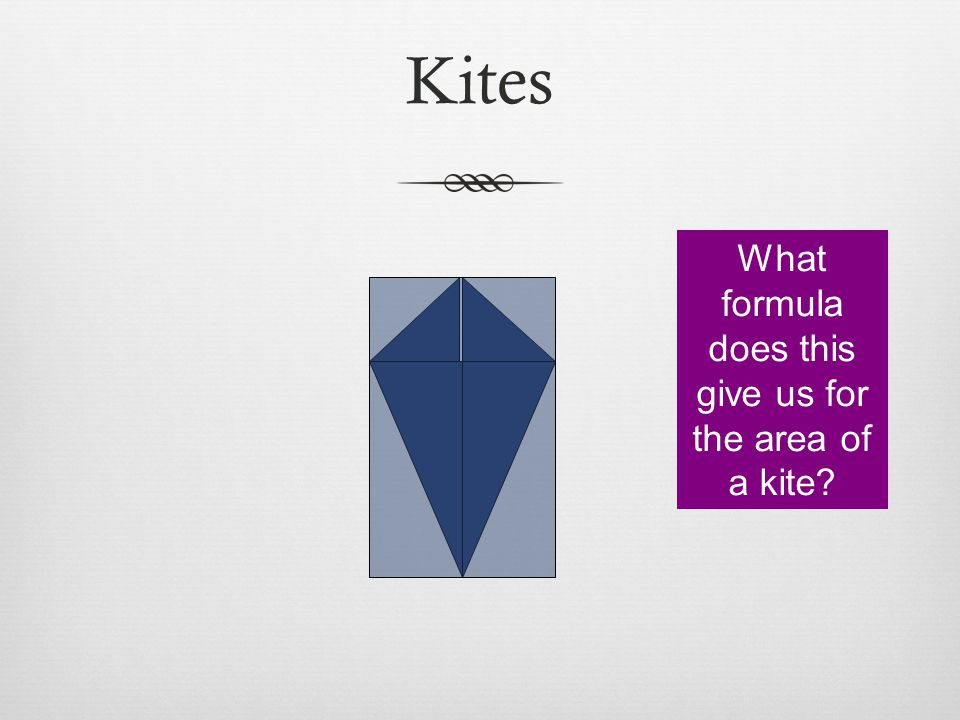Kites What formula does this give us for the area of a kite?