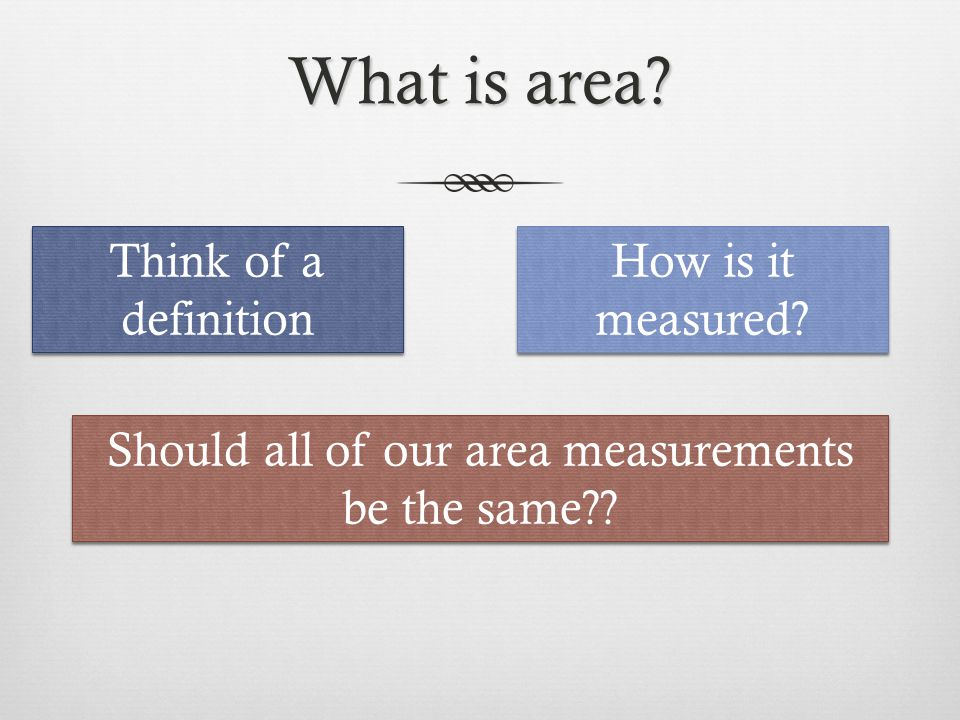 What is area? Think of a definition How is it measured? Should all of our area measurements be the same??