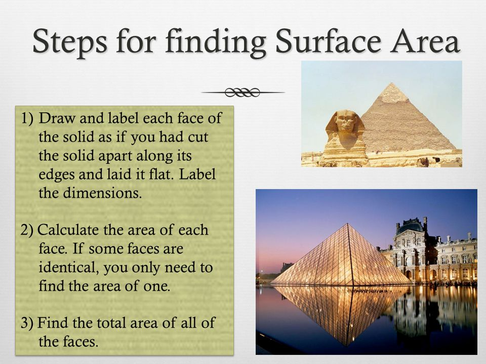 Steps for finding Surface Area 1)Draw and label each face of the solid as if you had cut the solid apart along its edges and laid it flat. Label the d