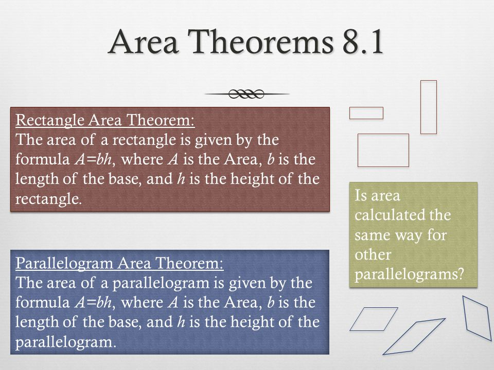 Area Theorems 8.1 Rectangle Area Theorem: The area of a rectangle is given by the formula A=bh, where A is the Area, b is the length of the base, and