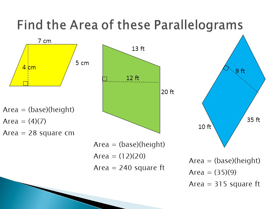Base 1 or b 1 Base 2 or b 2 Height b2b2 b1b1 Take two of the same trapezoids and put them together to make a parallelogram…because we know how to find the area of a parallelogram.