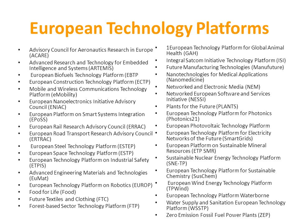 European Technology Platforms Advisory Council for Aeronautics Research in Europe (ACARE) Advanced Research and Technology for Embedded Intelligence and Systems (ARTEMIS) European Biofuels Technology Platform (EBTP European Construction Technology Platform (ECTP) Mobile and Wireless Communications Technology Platform (eMobility) European Nanoelectronics Initiative Advisory Council (ENIAC) European Platform on Smart Systems Integration (EPoSS) European Rail Research Advisory Council (ERRAC) European Road Transport Research Advisory Council (ERTRAC) European Steel Technology Platform (ESTEP) European Space Technology Platform (ESTP) European Technology Platform on Industrial Safety (ETPIS) Advanced Engineering Materials and Technologies (EuMat) European Technology Platform on Robotics (EUROP) Food for Life (Food) Future Textiles and Clothing (FTC) Forest-based Sector Technology Platform (FTP) 1European Technology Platform for Global Animal Health (GAH) Integral Satcom Initiative Technology Platform (ISI) Future Manufacturing Technologies (Manufuture) Nanotechnologies for Medical Applications (Nanomedicine) Networked and Electronic Media (NEM) Networked European Software and Services Initiative (NESSI) Plants for the Future (PLANTS) European Technology Platform for Photonics (Photonics21) European Photovoltaic Technology Platform European Technology Platform for Electricity Networks of the Future (SmartGrids) European Platform on Sustainable Mineral Resources (ETP SMR) Sustainable Nuclear Energy Technology Platform (SNE-TP) European Technology Platform for Sustainable Chemistry (SusChem) European Wind Energy Technology Platform (TPWind) European Technology Platform Waterborne Water Supply and Sanitation European Technology Platform (WSSTP) Zero Emission Fossil Fuel Power Plants (ZEP)