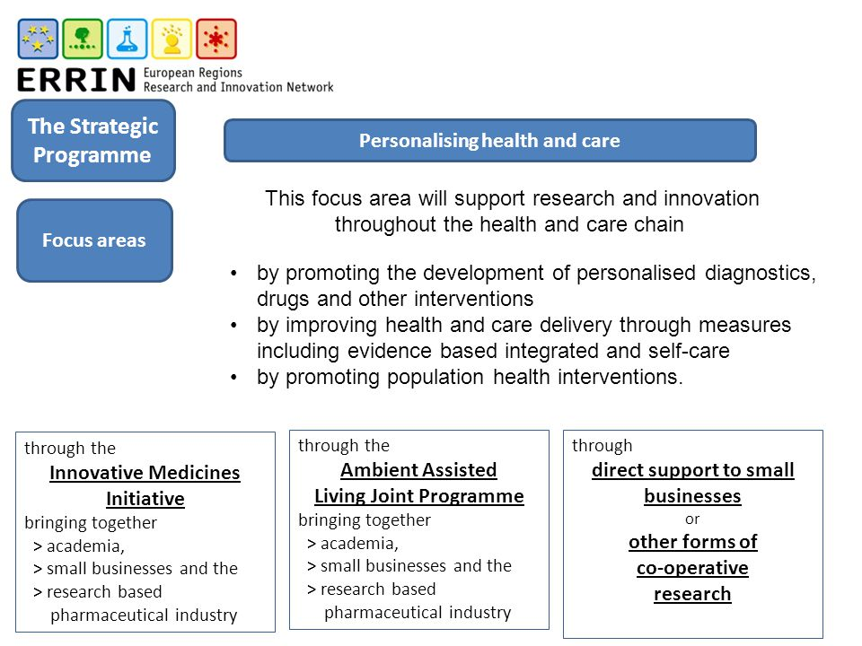 This focus area will support research and innovation throughout the health and care chain by promoting the development of personalised diagnostics, drugs and other interventions by improving health and care delivery through measures including evidence based integrated and self-care by promoting population health interventions.