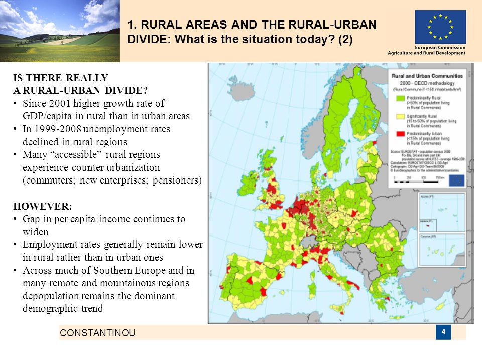 CONSTANTINOU 4 1. RURAL AREAS AND THE RURAL-URBAN DIVIDE: What is the situation today? (2) IS THERE REALLY A RURAL-URBAN DIVIDE? Since 2001 higher gro