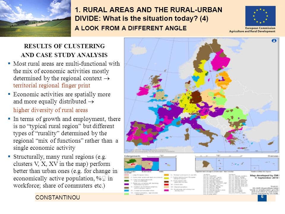 CONSTANTINOU 6 1. RURAL AREAS AND THE RURAL-URBAN DIVIDE: What is the situation today? (4) A LOOK FROM A DIFFERENT ANGLE RESULTS OF CLUSTERING AND CAS