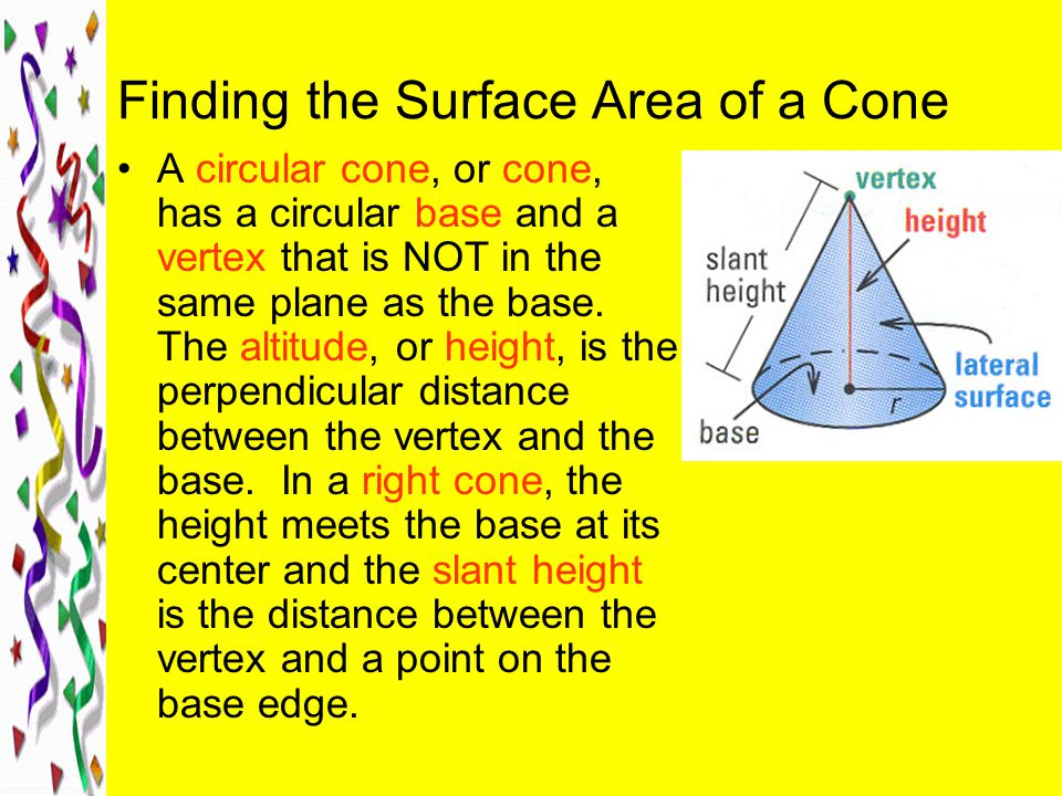 Finding the Surface Area of a Cone A circular cone, or cone, has a circular base and a vertex that is NOT in the same plane as the base.