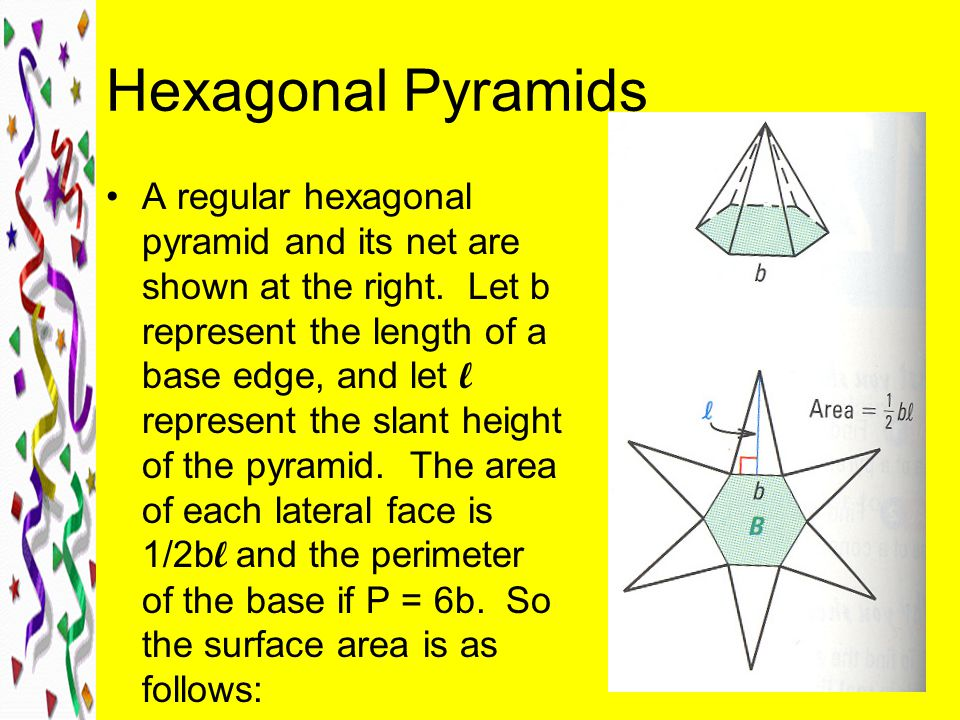 Hexagonal Pyramids A regular hexagonal pyramid and its net are shown at the right.