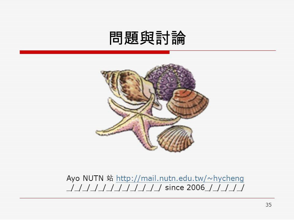 35 問題與討論 Ayo NUTN 站 http://mail.nutn.edu.tw/~hychenghttp://mail.nutn.edu.tw/~hycheng _/_/_/_/_/_/_/_/_/_/_/_/ since 2006_/_/_/_/_/