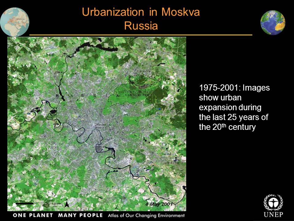 Urbanization in Moskva Russia 1975-2001: Images show urban expansion during the last 25 years of the 20 th century