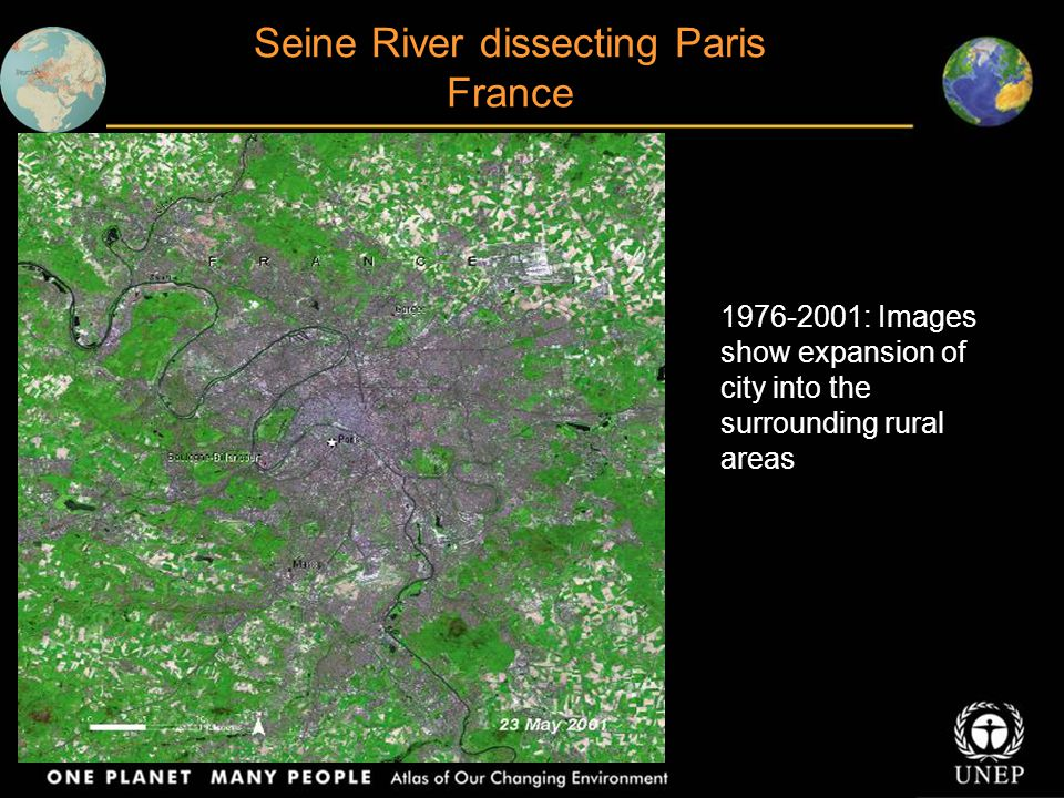 Seine River dissecting Paris France 1976-2001: Images show expansion of city into the surrounding rural areas