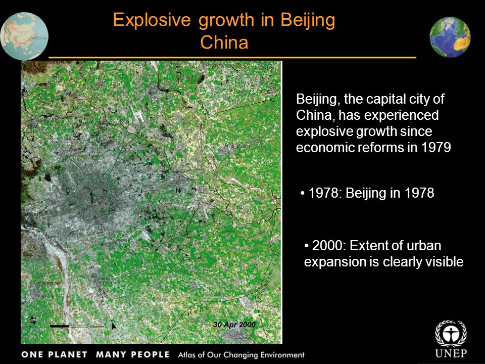 Beijing, the capital city of China, has experienced explosive growth since economic reforms in 1979 1978: Beijing in 1978 2000: Extent of urban expans