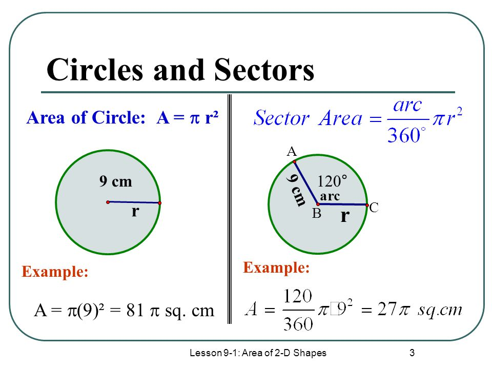 Lesson 9-1: Area of 2-D Shapes 3 Circles and Sectors r 9 cm A =  (9)² = 81  sq.