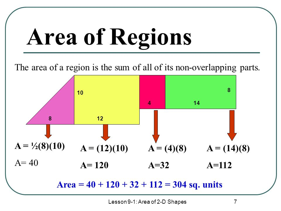 Lesson 9-1: Area of 2-D Shapes 7 Area of Regions 8 10 12 414 8 The area of a region is the sum of all of its non-overlapping parts. A = ½(8)(10) A= 40