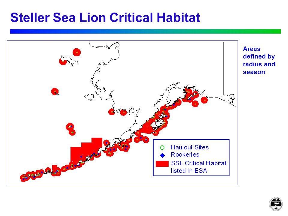 Steller Sea Lion Critical Habitat Areas defined by radius and season