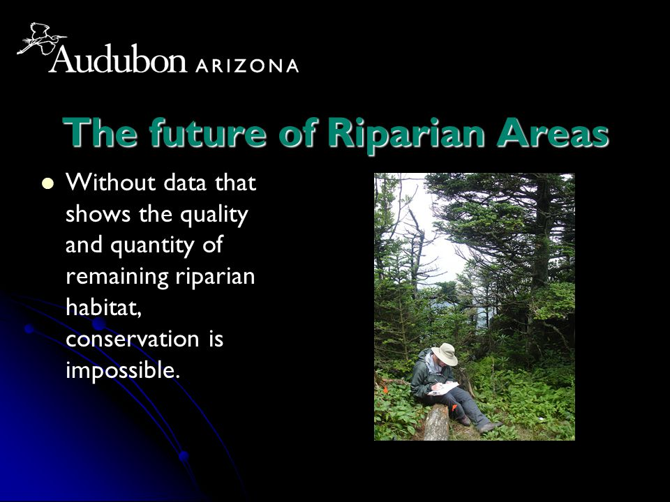 The future of Riparian Areas Without data that shows the quality and quantity of remaining riparian habitat, conservation is impossible.