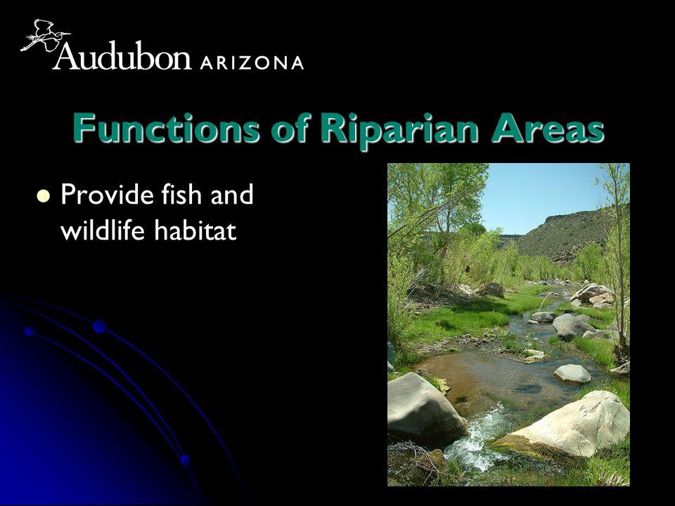 Functions of Riparian Areas Provide fish and wildlife habitat