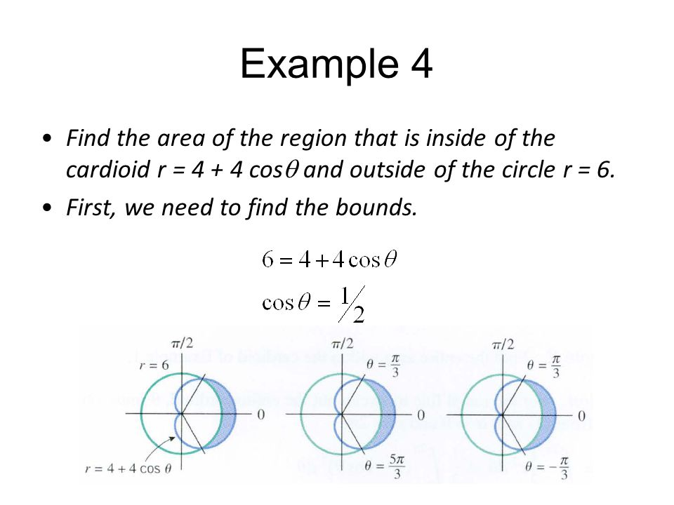 Example 4 Find the area of the region that is inside of the cardioid r = 4 + 4 cos  and outside of the circle r = 6. First, we need to find the bound