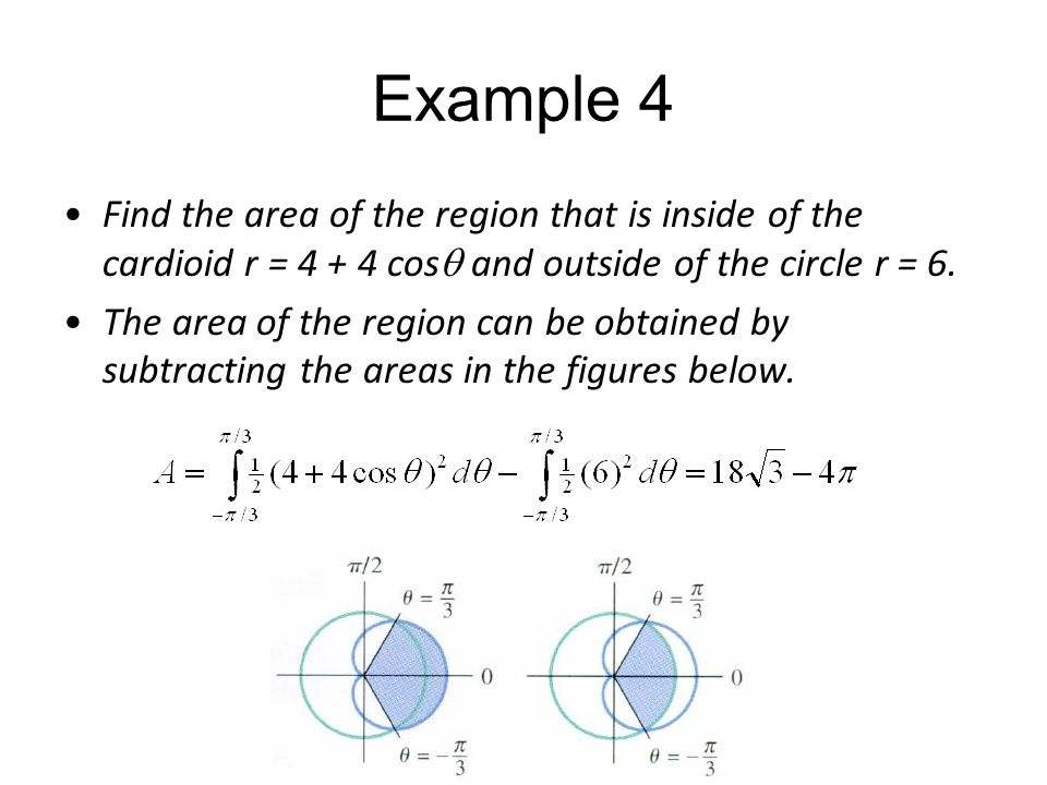 Example 4 Find the area of the region that is inside of the cardioid r = 4 + 4 cos  and outside of the circle r = 6. The area of the region can be ob