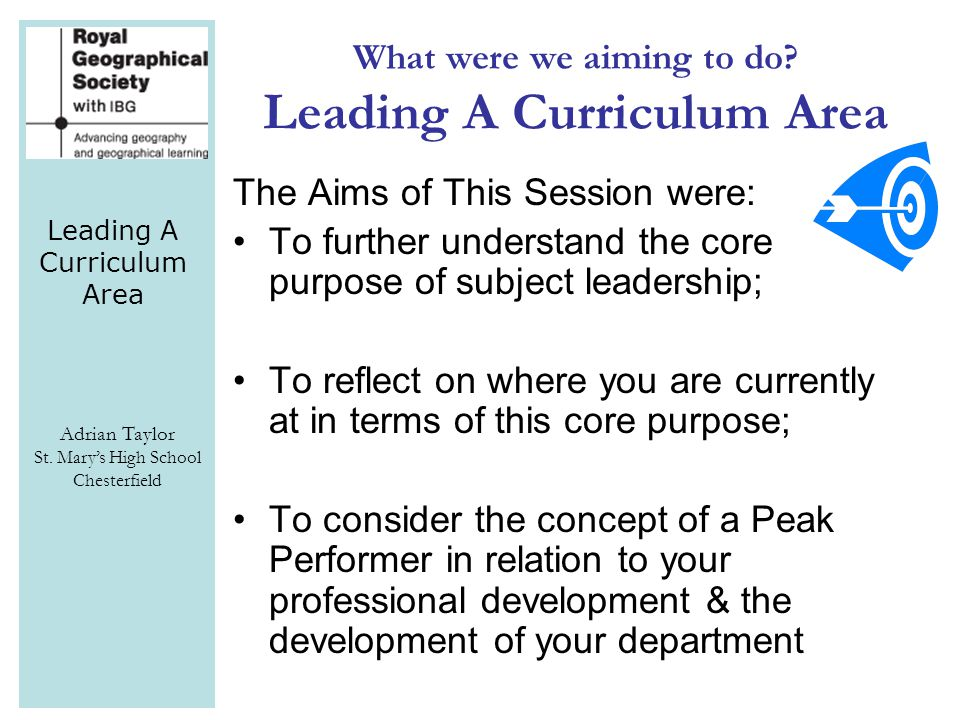 Leading A Curriculum Area Adrian Taylor St.