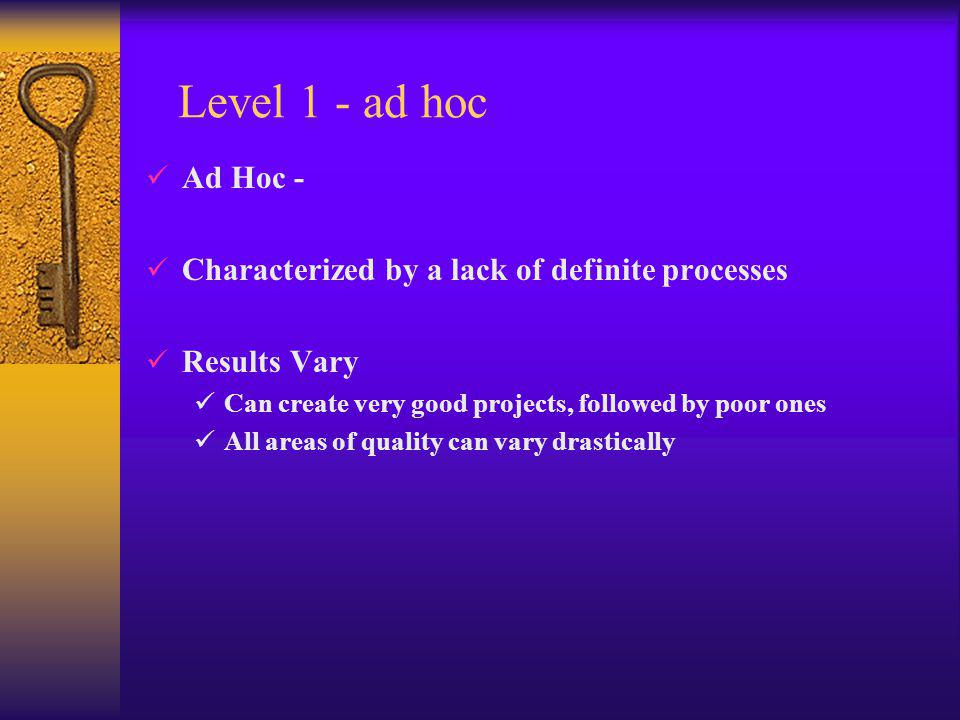 Level 1 - ad hoc Ad Hoc - Characterized by a lack of definite processes Results Vary Can create very good projects, followed by poor ones All areas of quality can vary drastically