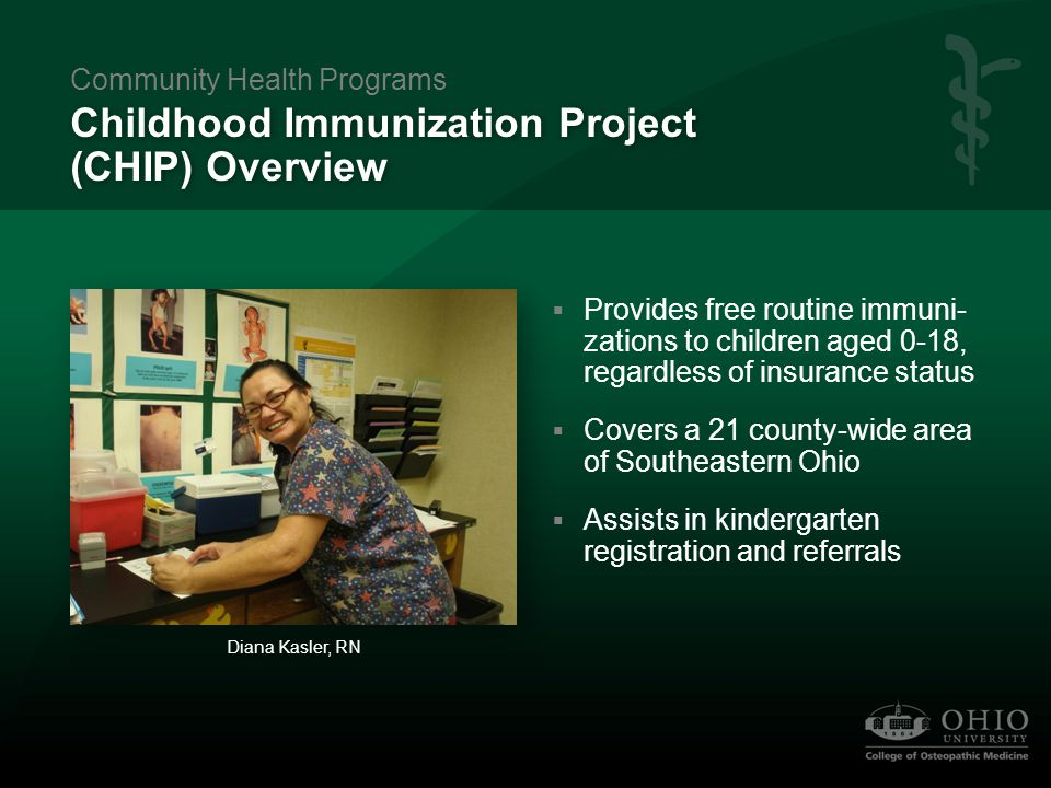 CHIP 2008 Report  Administered 8,554 vaccines, 95% of which was at no charge  Provided an estimated $337,244 in vaccines Lynn Smith, RN Community Health Programs Funded by the State of Ohio, Ohio Department of Health