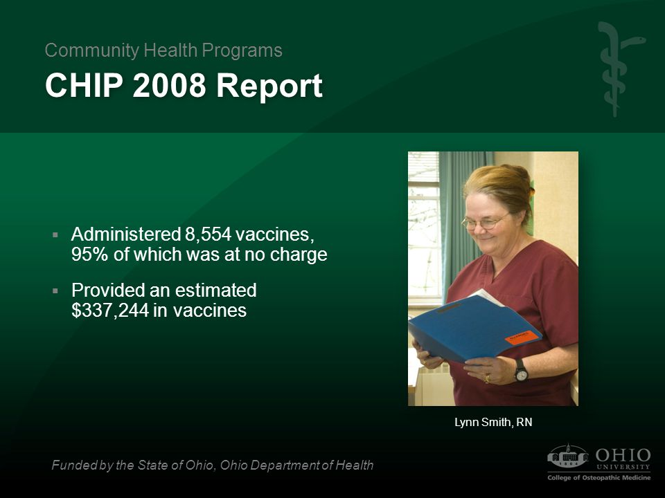 CHIP 2008 Report  Administered 8,554 vaccines, 95% of which was at no charge  Provided an estimated $337,244 in vaccines Lynn Smith, RN Community He