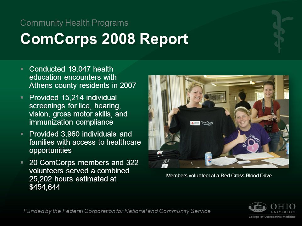 ComCorps 2008 Report  Conducted 19,047 health education encounters with Athens county residents in 2007  Provided 15,214 individual screenings for l
